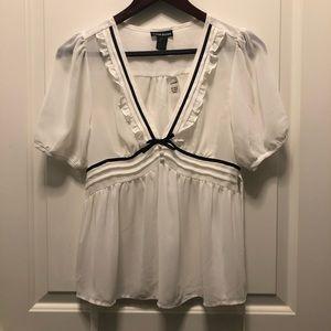 White Black Silk Puffy Sleeves V Neck Blouse Small
